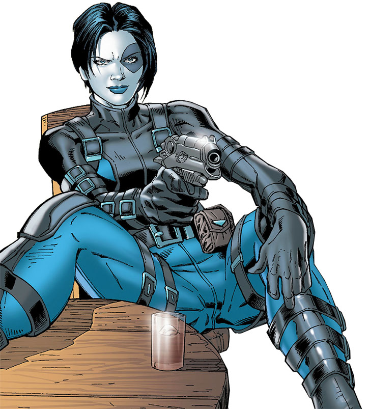 Domino pointing a pistol while sitting however she likes