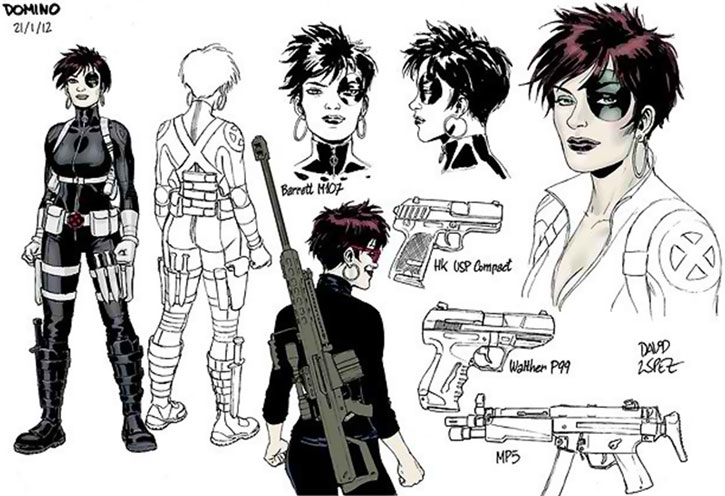 Domino character model sheet and weapons