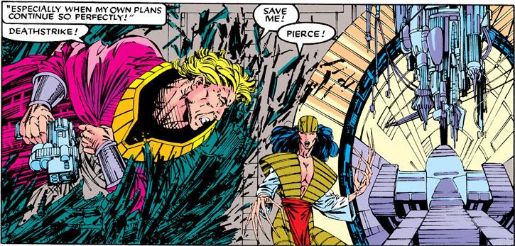 Donald Pierce (Marvel Comics) (White Bishop / King) crashing through door, Deathstrike