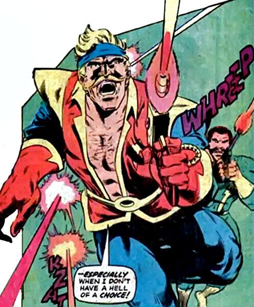 Donovan Flint of the Star Hunters (DC Comics) charging with guns blazing