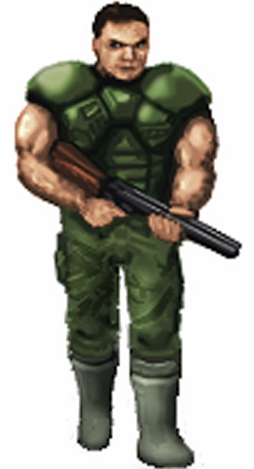 Doomguy with a shotgun and no helmet