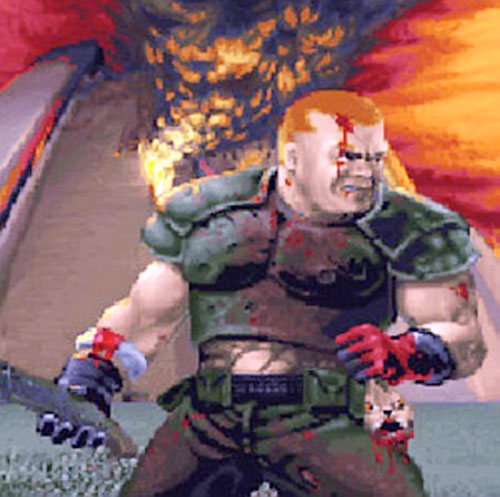 Doomguy holding a severed rabbit head