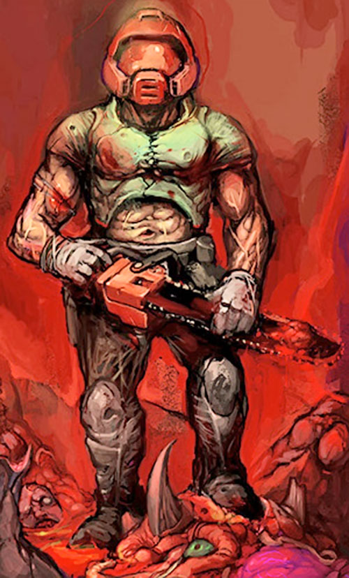 Doomguy with a chainsaw by Derek Yu