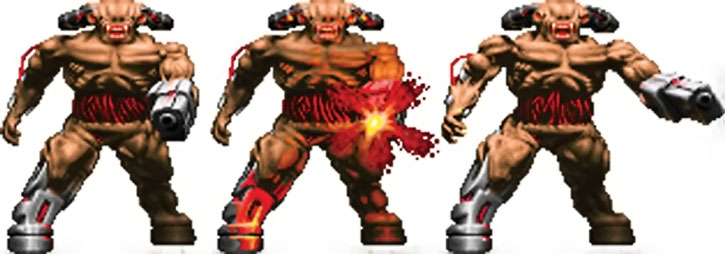 Doom cyberdemon shooting sprite
