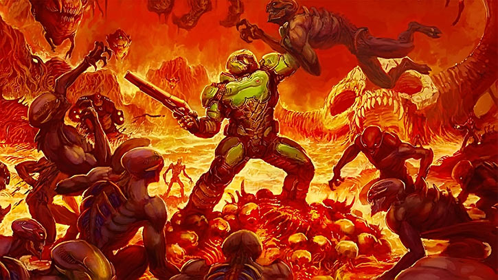 The DooM Marine battling demons in hell (alternate box art)