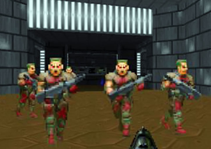 Zombie horde in the Doom video game
