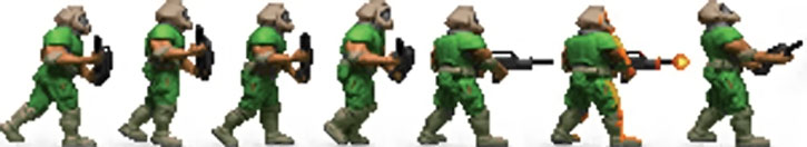 Doom marine sprite right-hand view