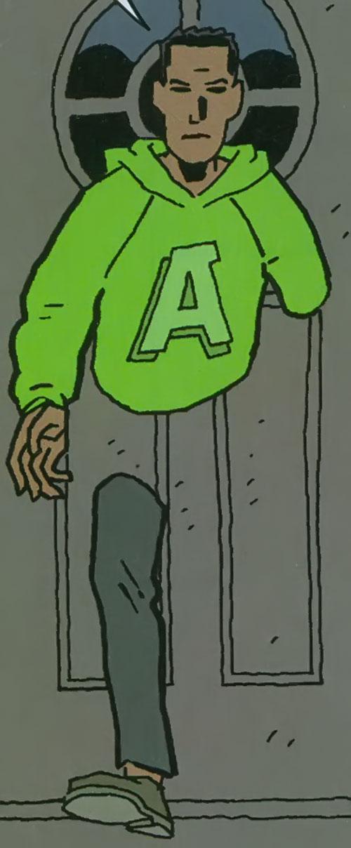 Doorman of the Great Lakes Avengers (Marvel Comics) walking through a door