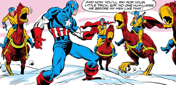 Dovecote guards on killer birds vs. Captain America