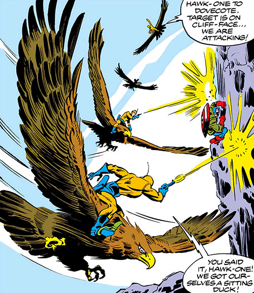 Dovecote guards riding giant hawks shoot at Captain America