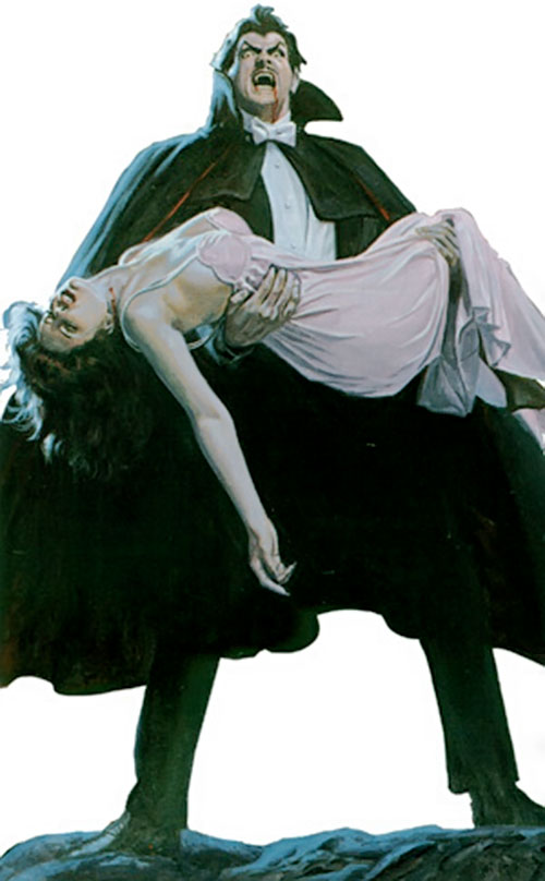 Dracula holding a female victim, as usual