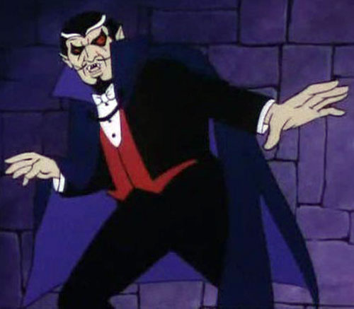 Dracula (Super-Friends cartoon) dramatic pose in castle