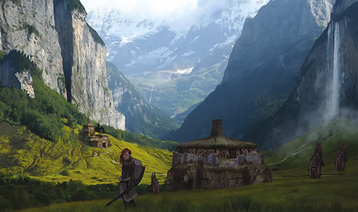 Dragon Age - Ferelden landscape - Valley houses