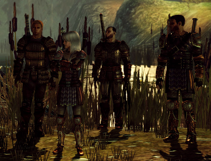 Dragon Age characters in a swamp