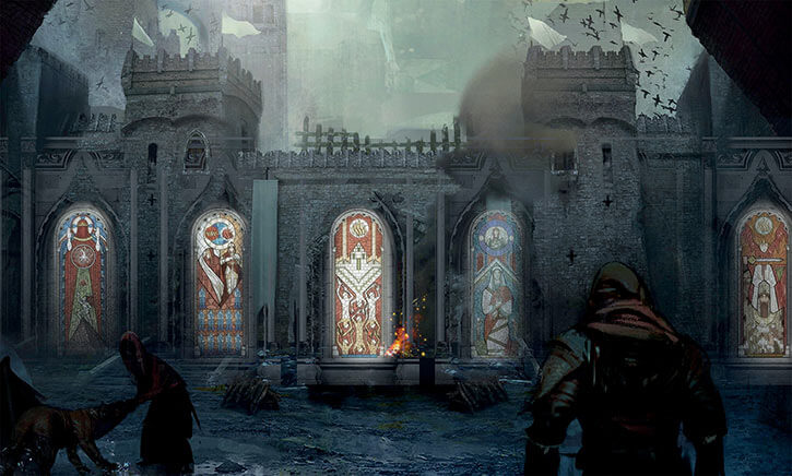 Dragon Age official art - building with stained glass windows