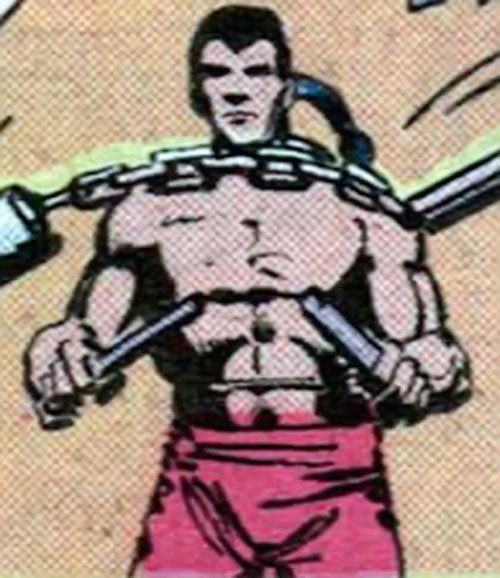 Dragon of the Committee (Moon Knight enemy) (Marvel Comics) with a nunchaku