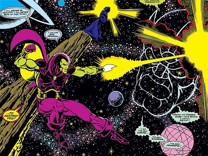 Classic Drax attacks Thanos as a cosmic wraith