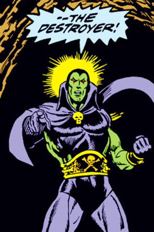 Drax the Destroyer (classic) (Captain Marvel Comics) in dramatic darkness