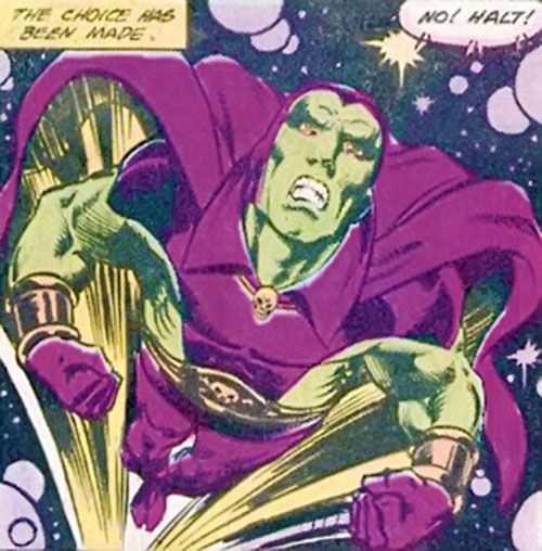 Drax the Destroyer (classic) (Captain Marvel Comics) flying through space