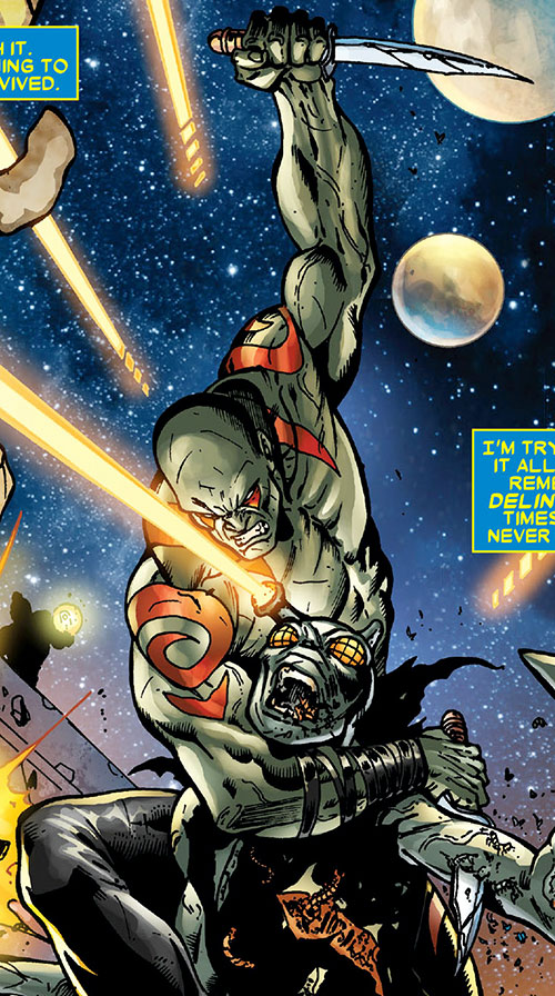 Drax the Destroyer of the Guardians of the Galaxy (Marvel Comics) vs. the Infant Terrible
