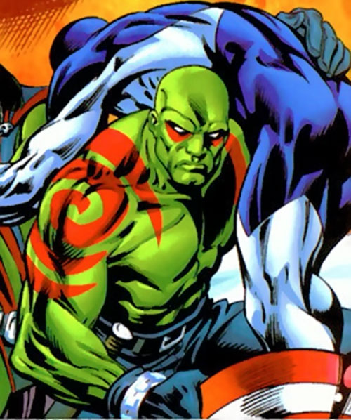 Drax the Destroyer of the Guardians of the Galaxy (Marvel Comics) carrying Major Victory