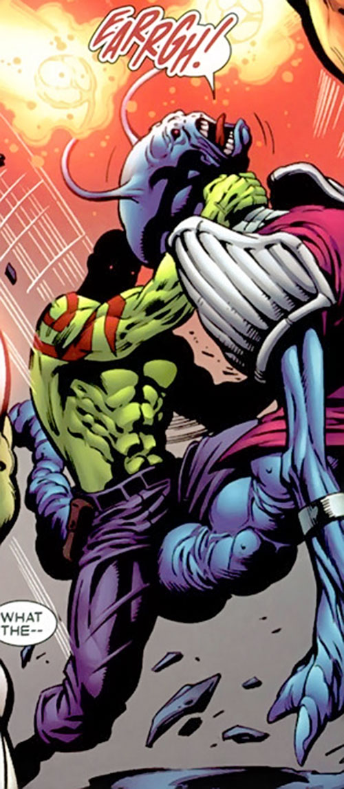 Drax the Destroyer of the Guardians of the Galaxy (Marvel Comics) strangling a Luminal