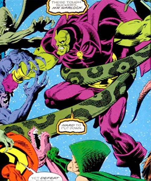 Drax the Destroyer of the Infinity Watch (Marvel Comics) fighting demons