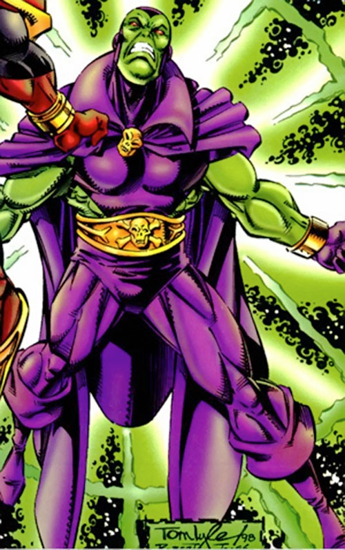 Drax the Destroyer of the Infinity Watch (Marvel Comics) glowing with green energy