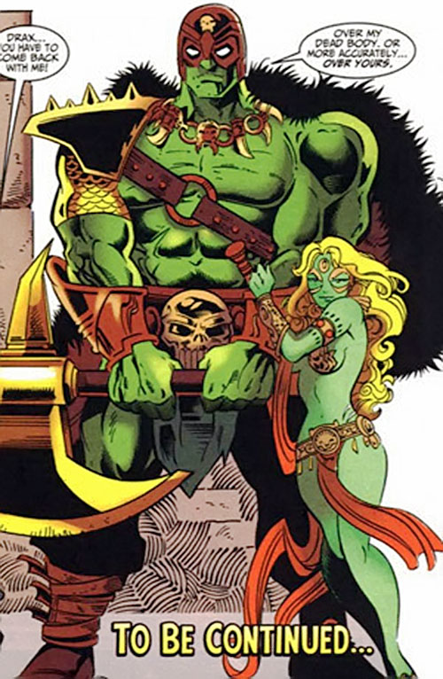 Drax the Destroyer of the Infinity Watch (Marvel Comics) as a Microverse barbarian warlord