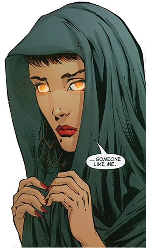 Dreamslayer of the Extremists (DC Comics) Louise Marino with hood and glowing eyes