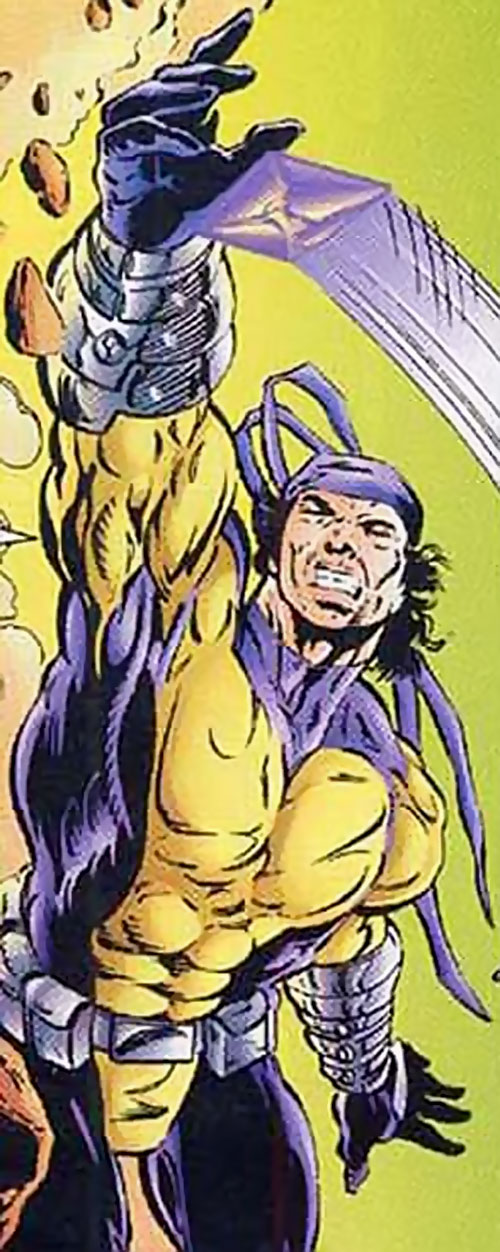 Dropkick of the Solution (Ultraverse comics) in the purple and dull yellow costume