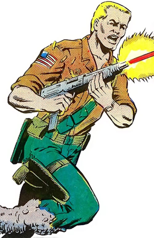 Duke (G.I. Joe) (Marvel Comics) firing a Uzi