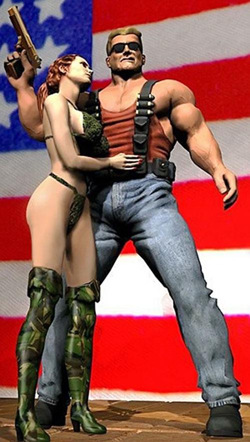 Duke Nukem with a generic babe