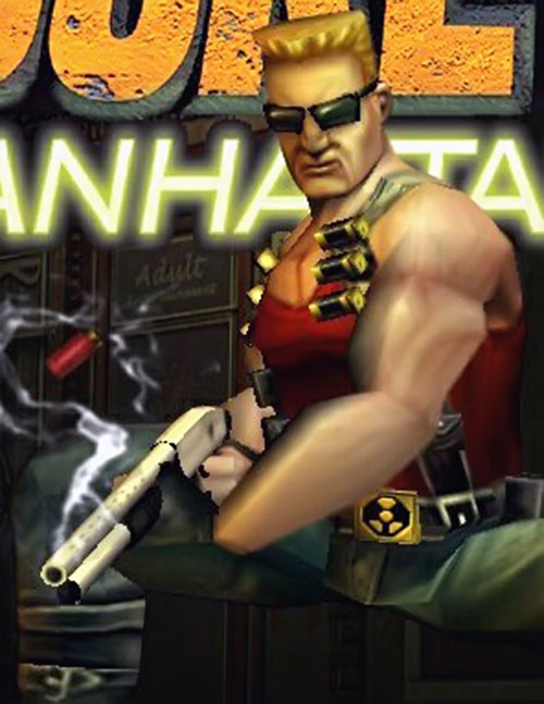 Duke Nukem operating a shotgun