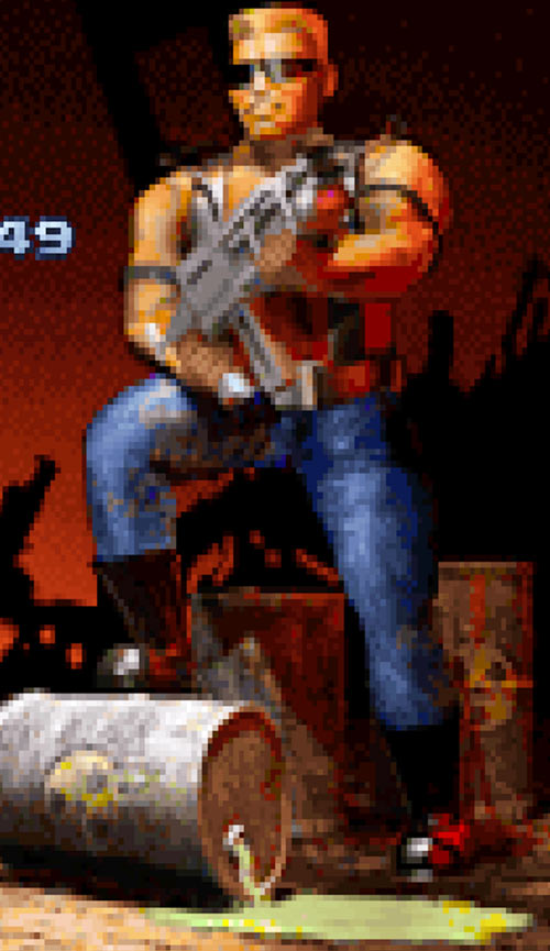 Vintage Duke Nukem from the score screen