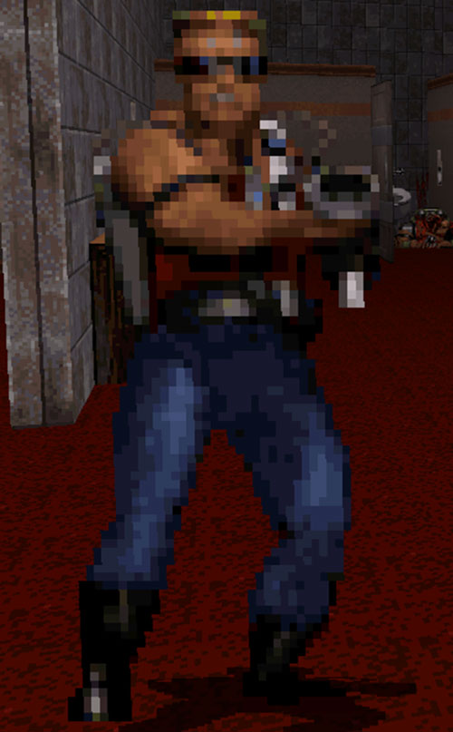 Pixelated Duke Nukem from the old game vintage