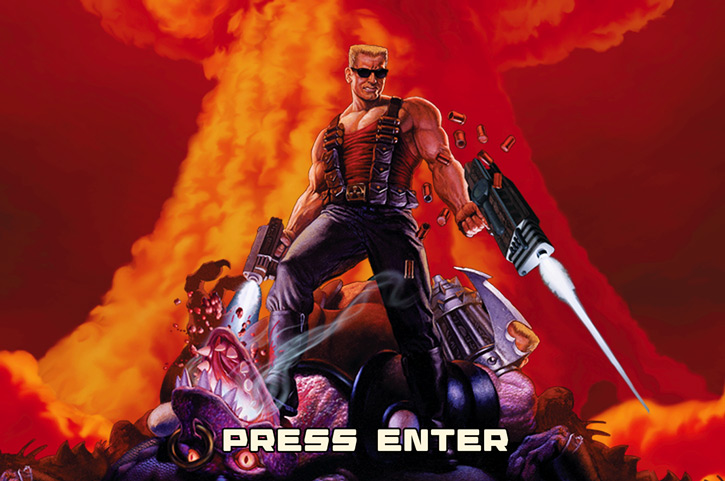 Duke Nukem and an atomic explosion from the Megaton Edition splash screen
