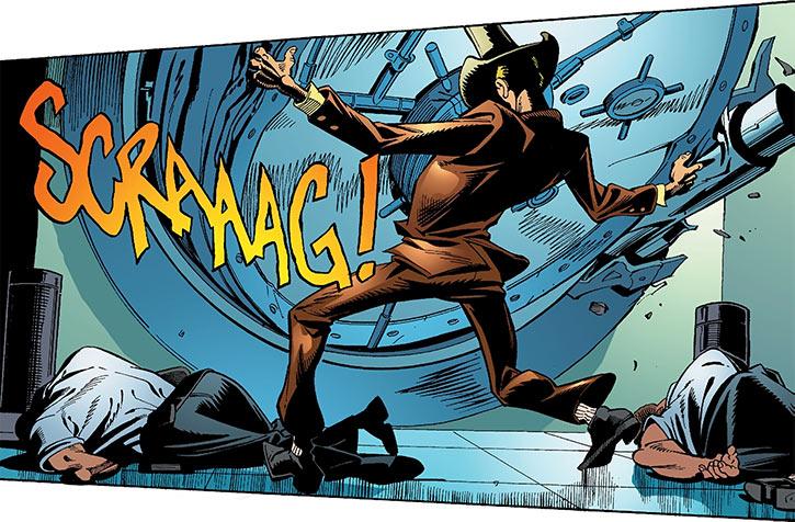 Duke of Oil (Green Arrow enemy) (DC Comics) ripping a bank vault open