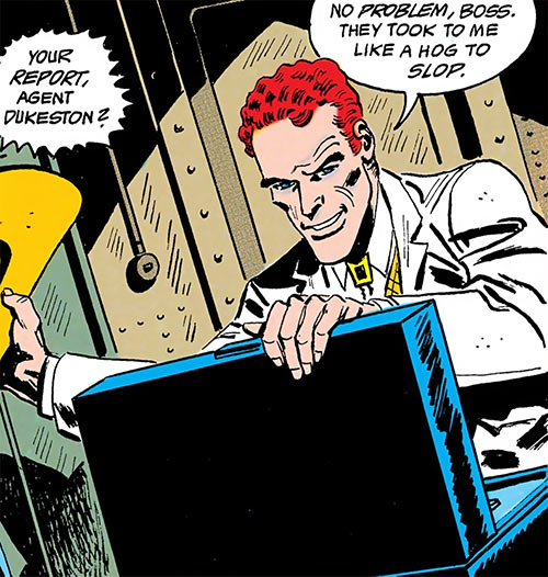 Duke of Oil (Outsiders enemy) (DC Comics) in a white suit