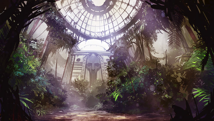 Dungeon of the Endless loading screen art - hothouse jungle