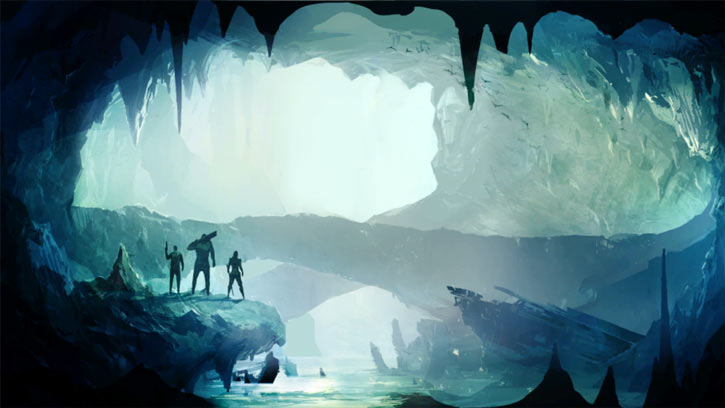 Dungeon of the Endless loading screen art - giant ice cave