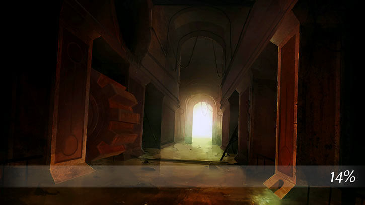 Dungeon of the Endless loading screen art - rusted corridor