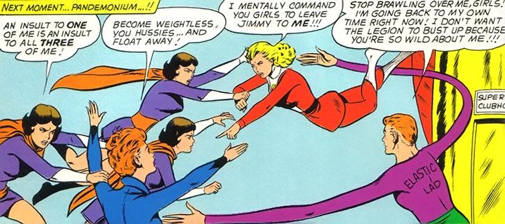 Elastic Lass (Jimmy Olsen) dealing with the Legion of Super-Heroes women