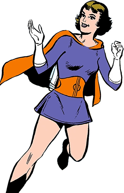 Duo Damsel / Triplicate Girl of the Legion of Super-Heroes (DC Comics Silver Age) smiling with a jetpack