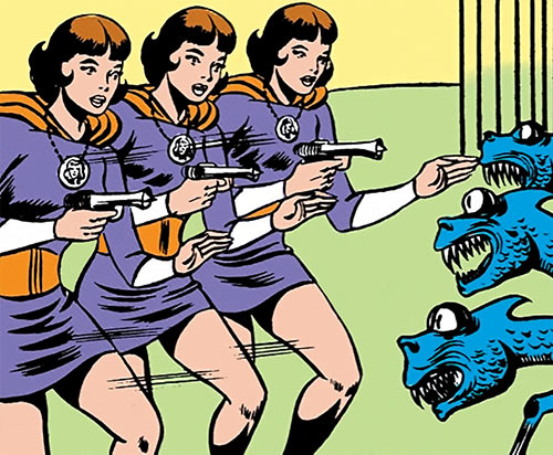 Duo Damsel / Triplicate Girl of the Legion of Super-Heroes (DC Comics Silver Age) with a raygun