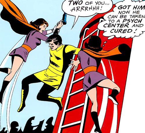 Duo Damsel / Triplicate Girl of the Legion of Super-Heroes (DC Comics Silver Age) stopping a gunman