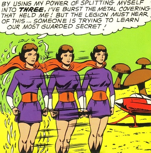 Duo Damsel / Triplicate Girl of the Legion of Super-Heroes (DC Comics Silver Age) and giant mushrooms
