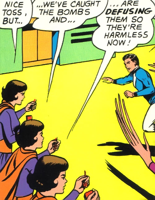 Duo Damsel / Triplicate Girl of the Legion of Super-Heroes (DC Comics Silver Age) defusing bombs