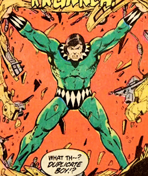 Duplicate Boy (Legion of Super-Heroes character) (DC Comics) demolishes a wall