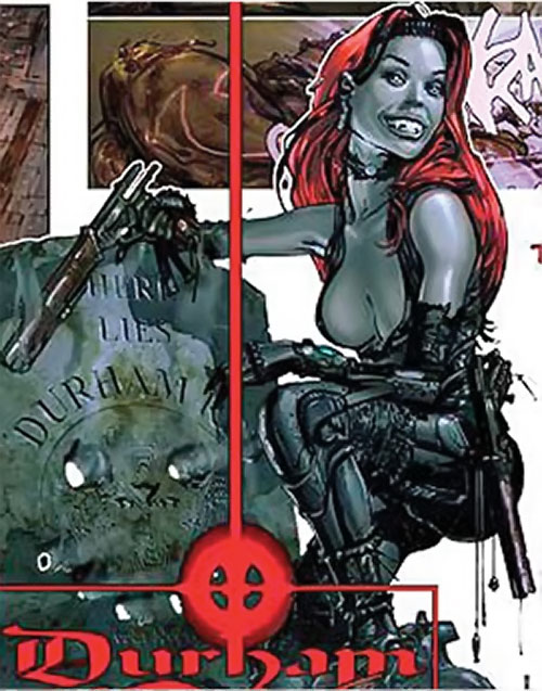 Durham Red (2000AD Comics) grinning over her own gravestone